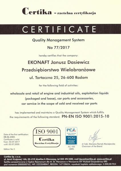 Certyfikat Systemu Zarządzania Jakością EN