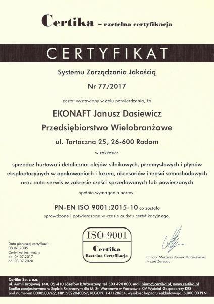 Certyfikat Systemu Zarządzania Jakością PL